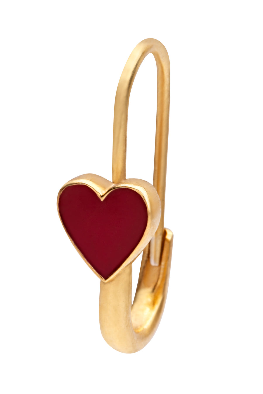 Red Heart Safety Pin Enamel Earring Gold