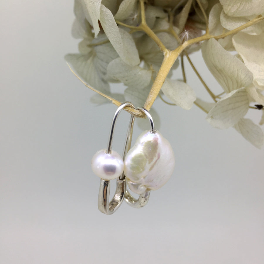 Classic Pearl Safety Pin Earring Silver