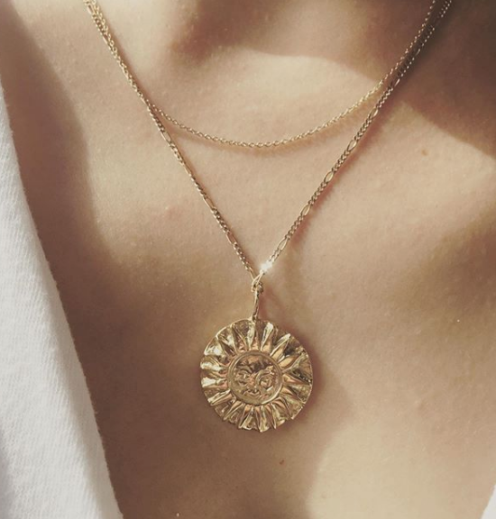 SunMoonSun Medallion Necklace Gold - Serpent & the Swan
