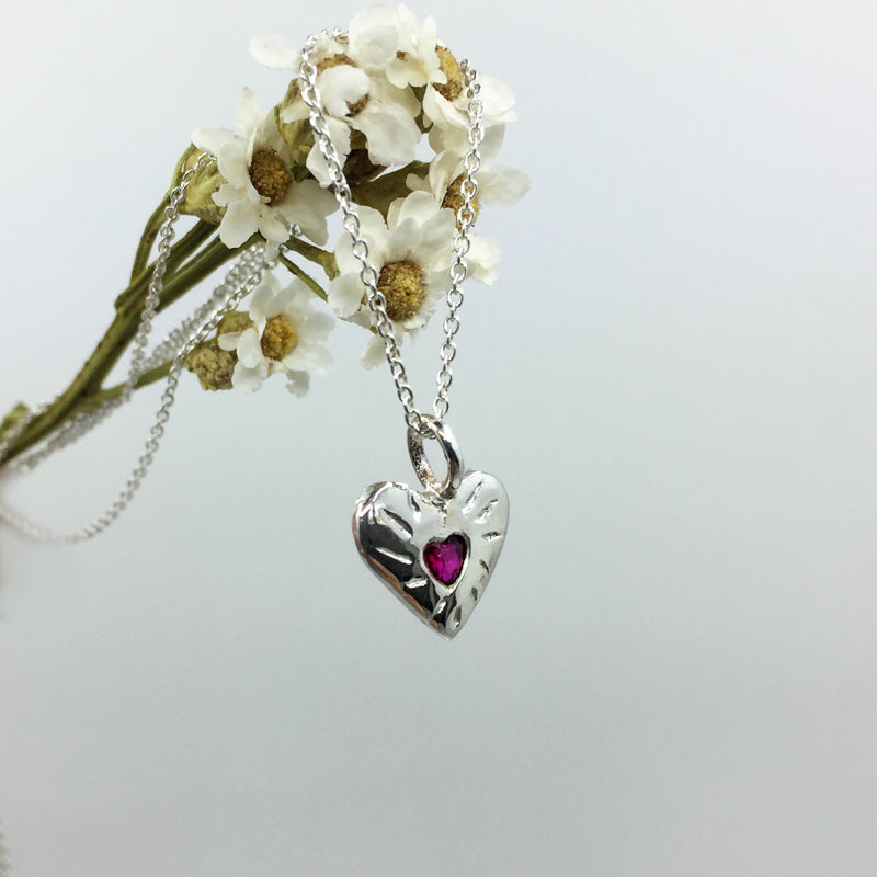 Ruby Rays Heart Shaped Necklace Silver