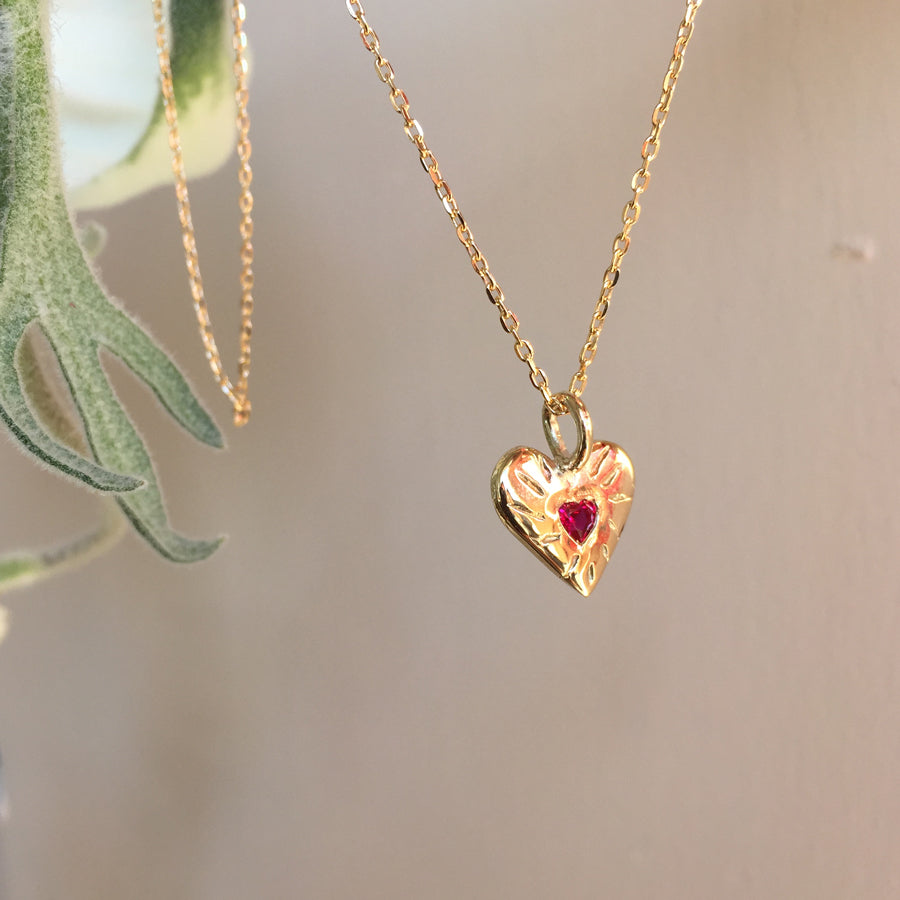 Ruby Rays Heart Shaped Necklace Gold