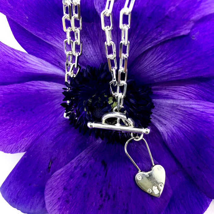 Heart Fob Padlock Necklace Silver