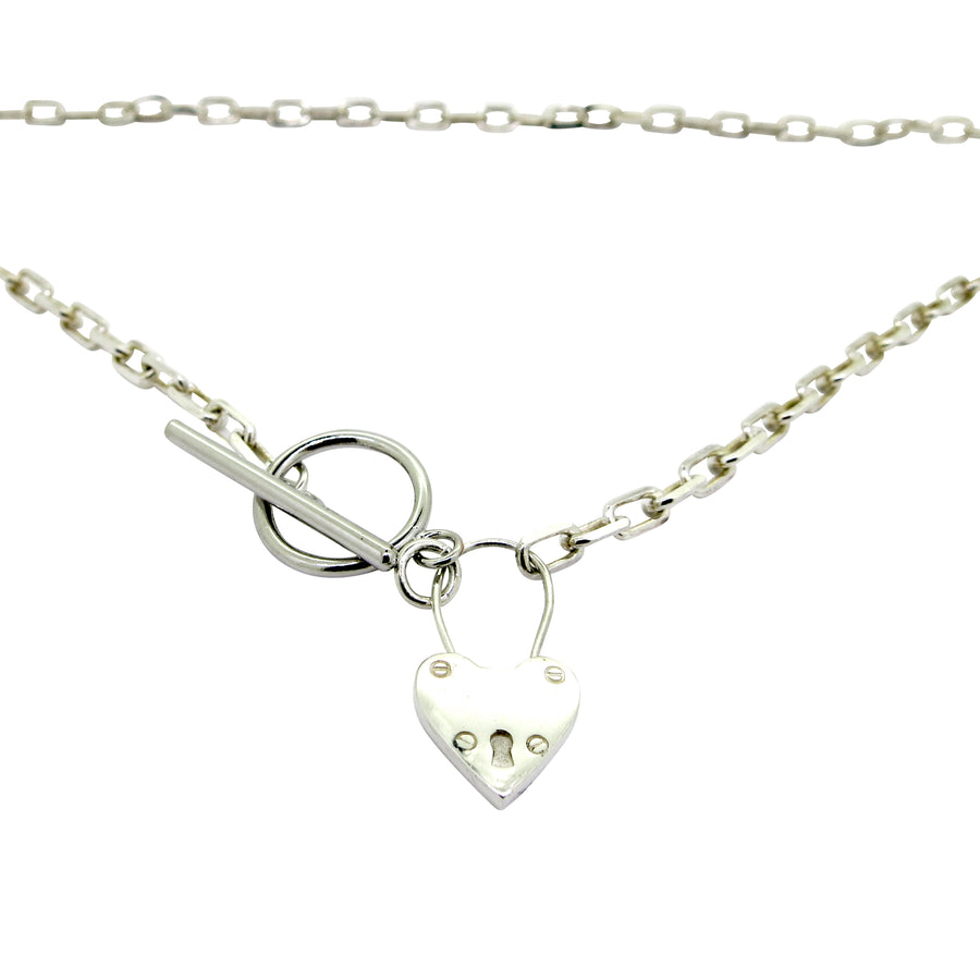 Heart Locket Fob Necklace Silver