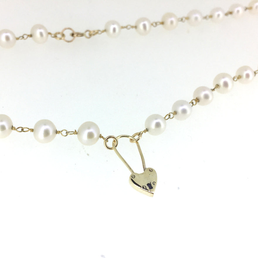 Heart Padlock Pearl Necklace - Serpent & the Swan