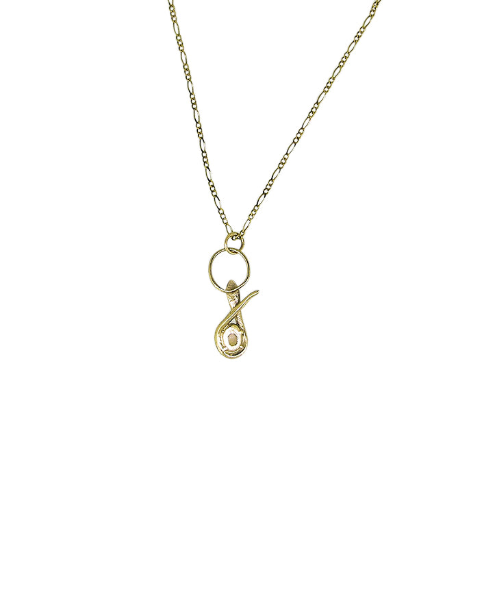 Serpent Opal Necklace Solid Gold - Serpent & the Swan