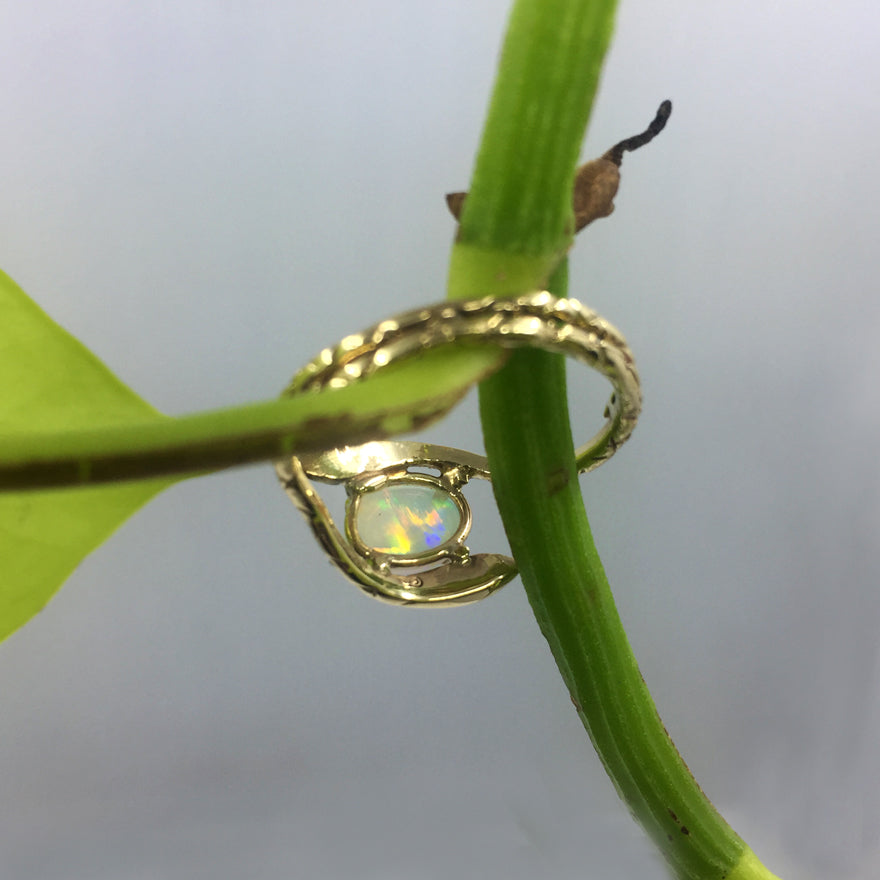 Double Snake Opal Ring Gold