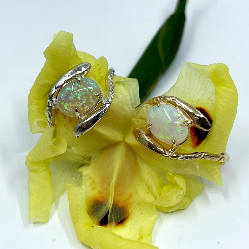 Double Snake Opal Ring Silver