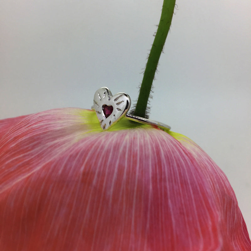 Ruby Rays Heart of Hearts Ring