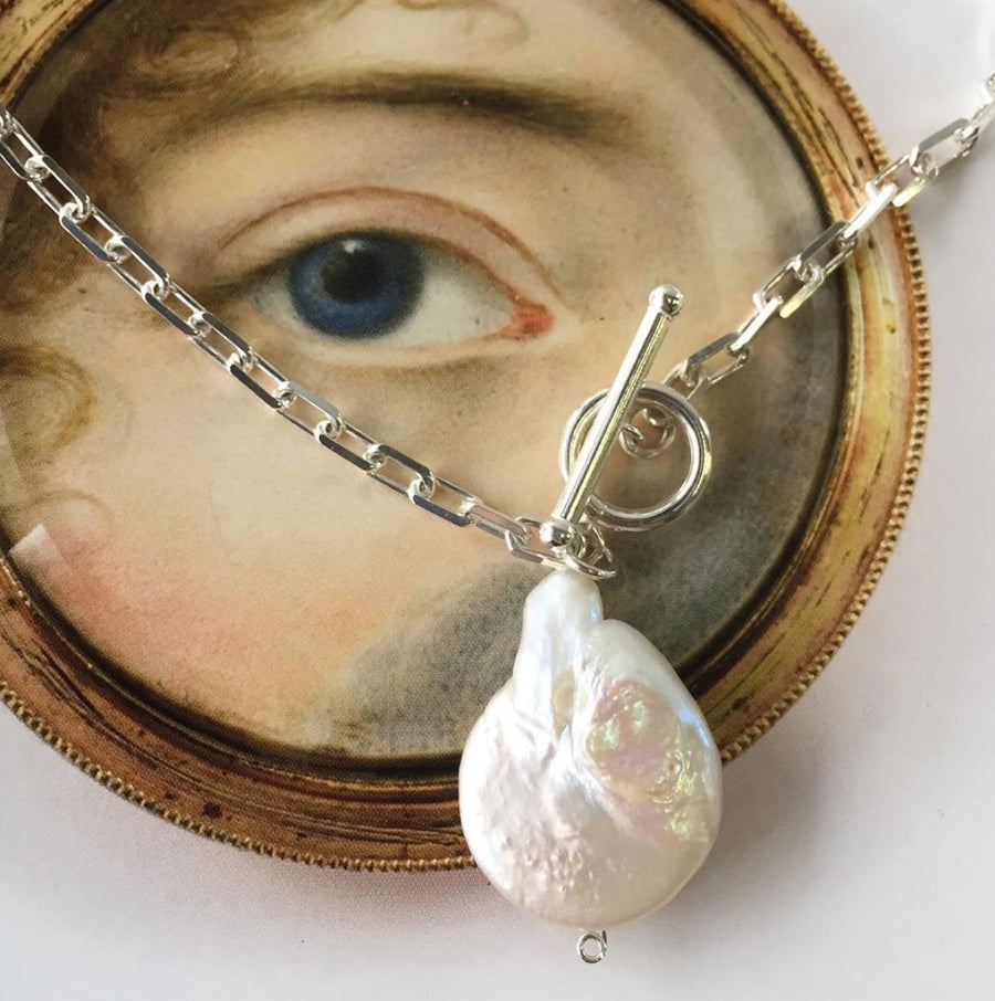 Freshwater Pearl Fob Necklace Silver - Serpent & the Swan