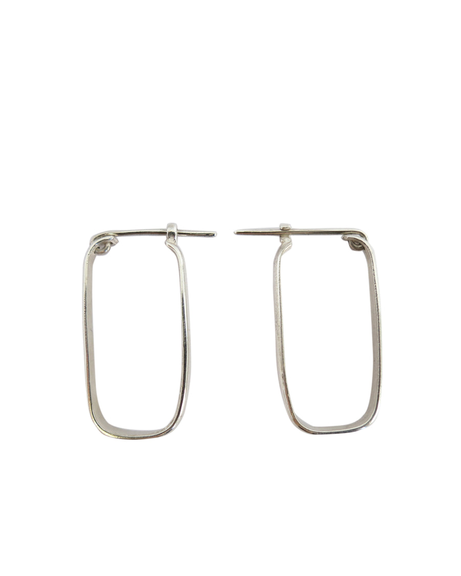 Rectangular Hoop Earrings Silver