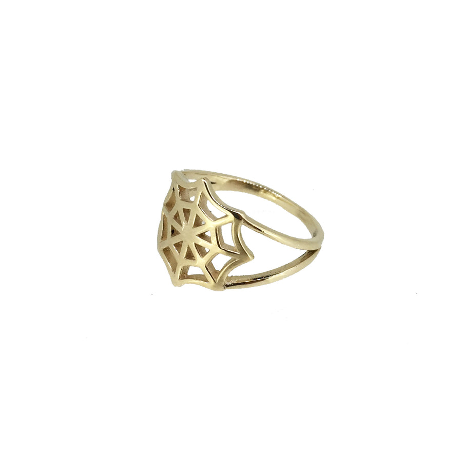 SpiderWeb Ring Gold - Serpent & the Swan