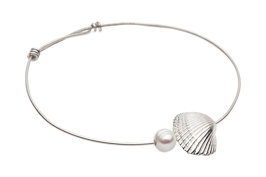 Shell & Freshwater Pearl Bangle Silver