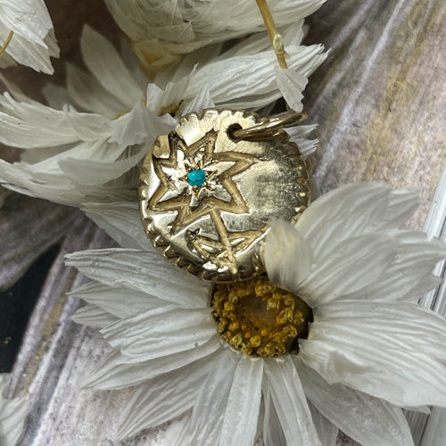 Forget-Me-Not Flower Birthstone Medallion Gold