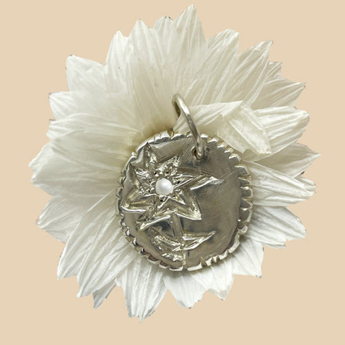 Forget-Me-Not Flower Birthstone Medallion Silver
