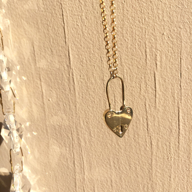 Heart Padlock Necklace Gold