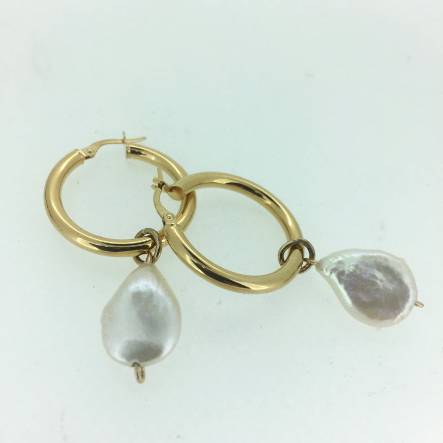 Hoops & Freshwater Pearl Charm Earrings