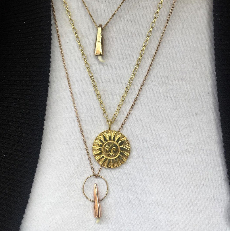 SunMoonSun Medallion Necklace Gold