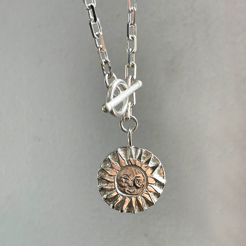 SunMoonSun Medallion Necklace Silver