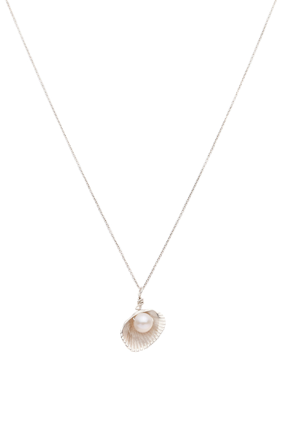 Shell & Freshwater Pearl Necklace Silver - Serpent & the Swan