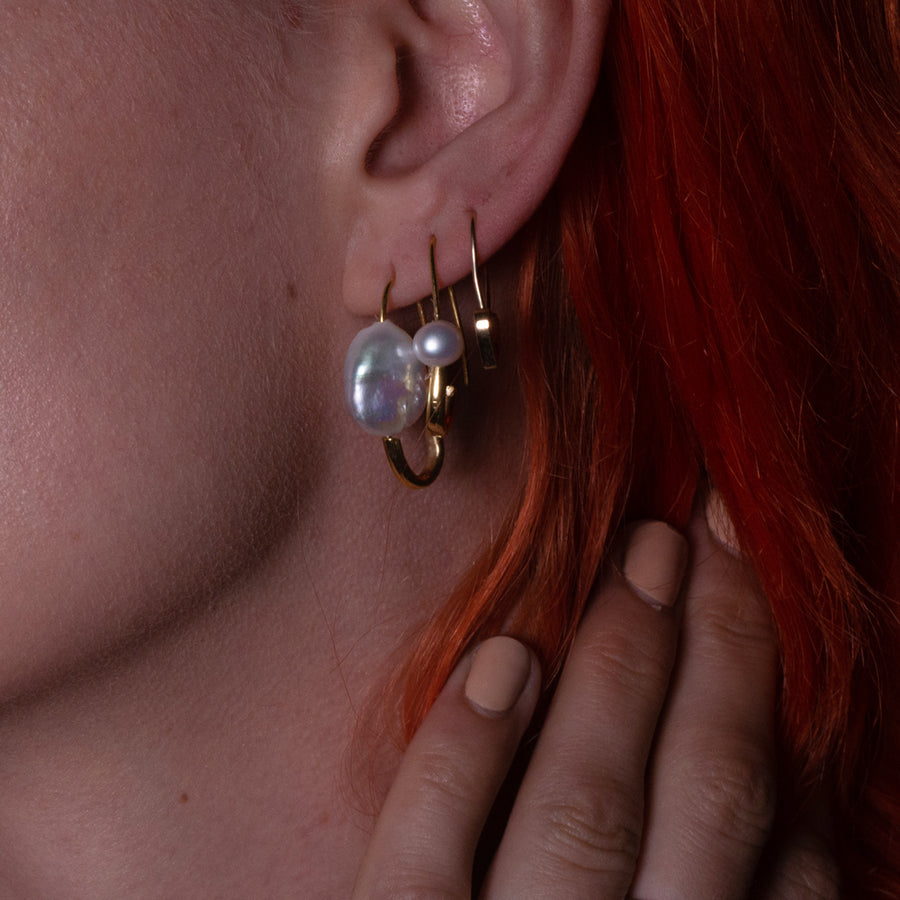 Classic Pearl Safety Pin Earring Gold - Serpent & the Swan