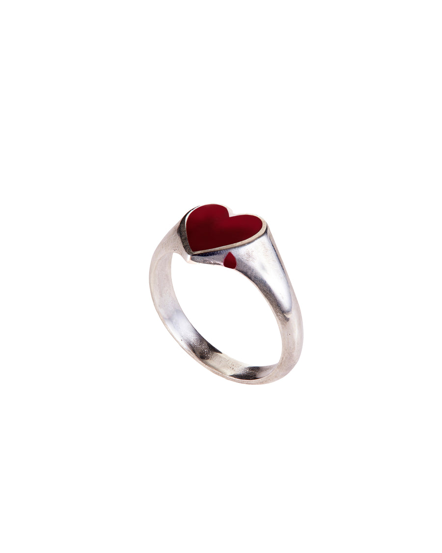 Bleeding Heart Ring Silver