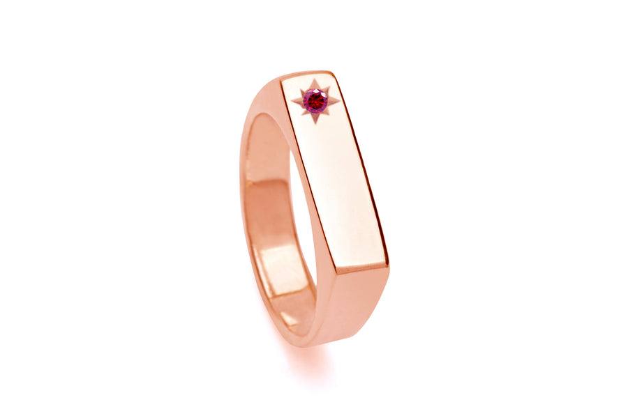 Birthstone Signet Pinky Ring Gold & Rose Gold