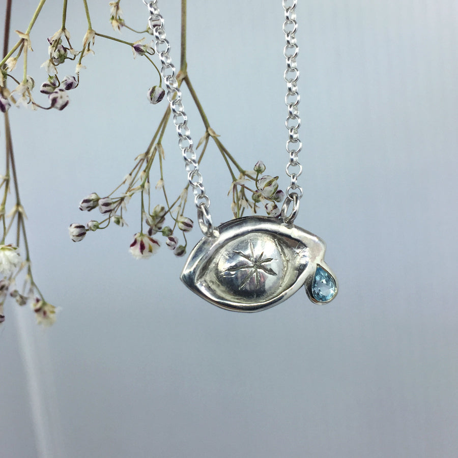 Crying Eye with Topaz Tears Necklace Silver