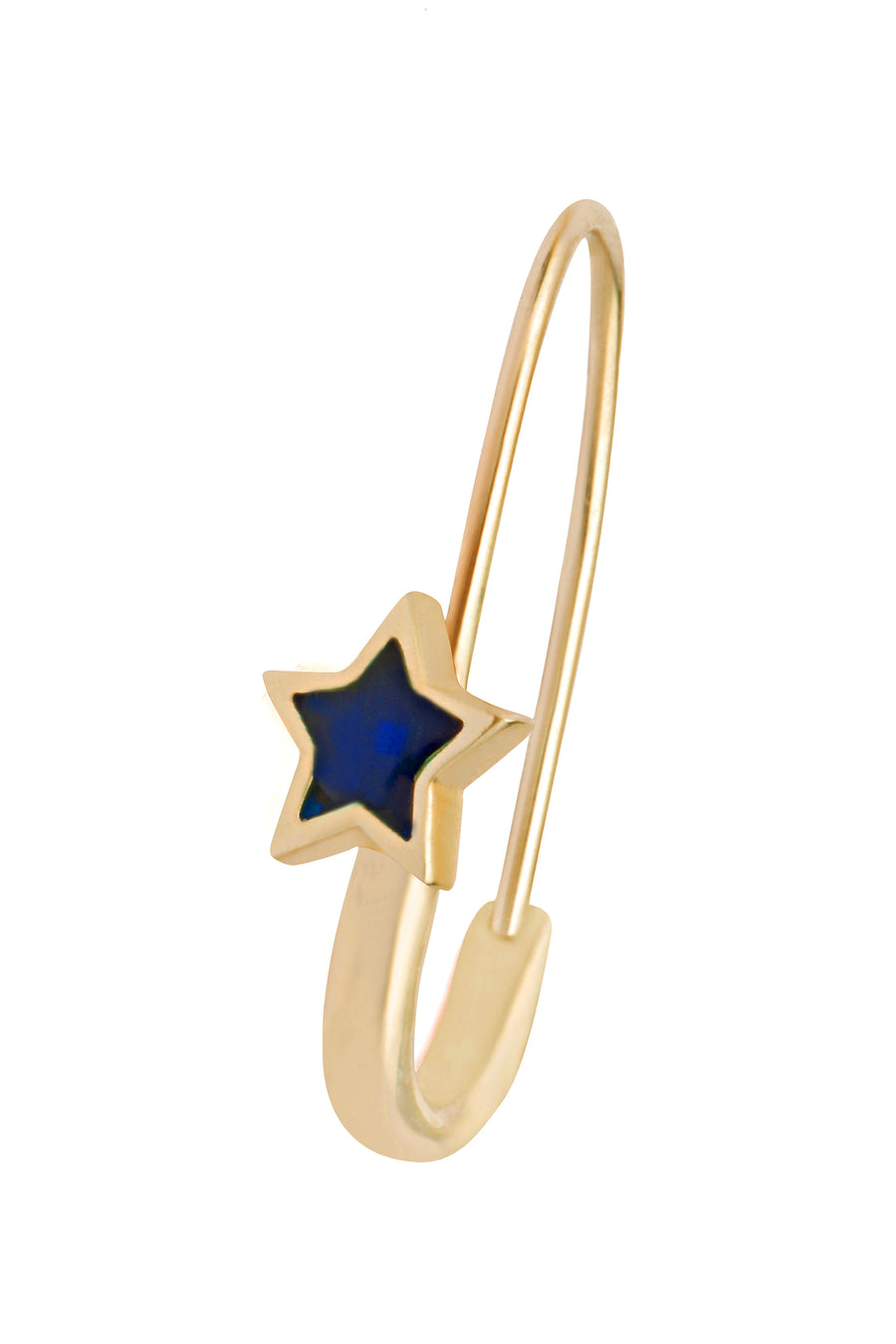 Navy Star Safety Pin Enamel Earring Gold - Serpent & the Swan