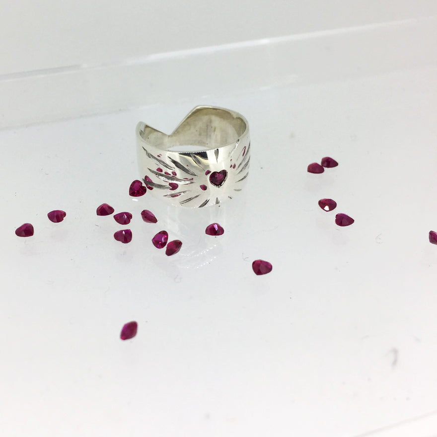 Ruby Rays Heart Ring - Serpent & the Swan