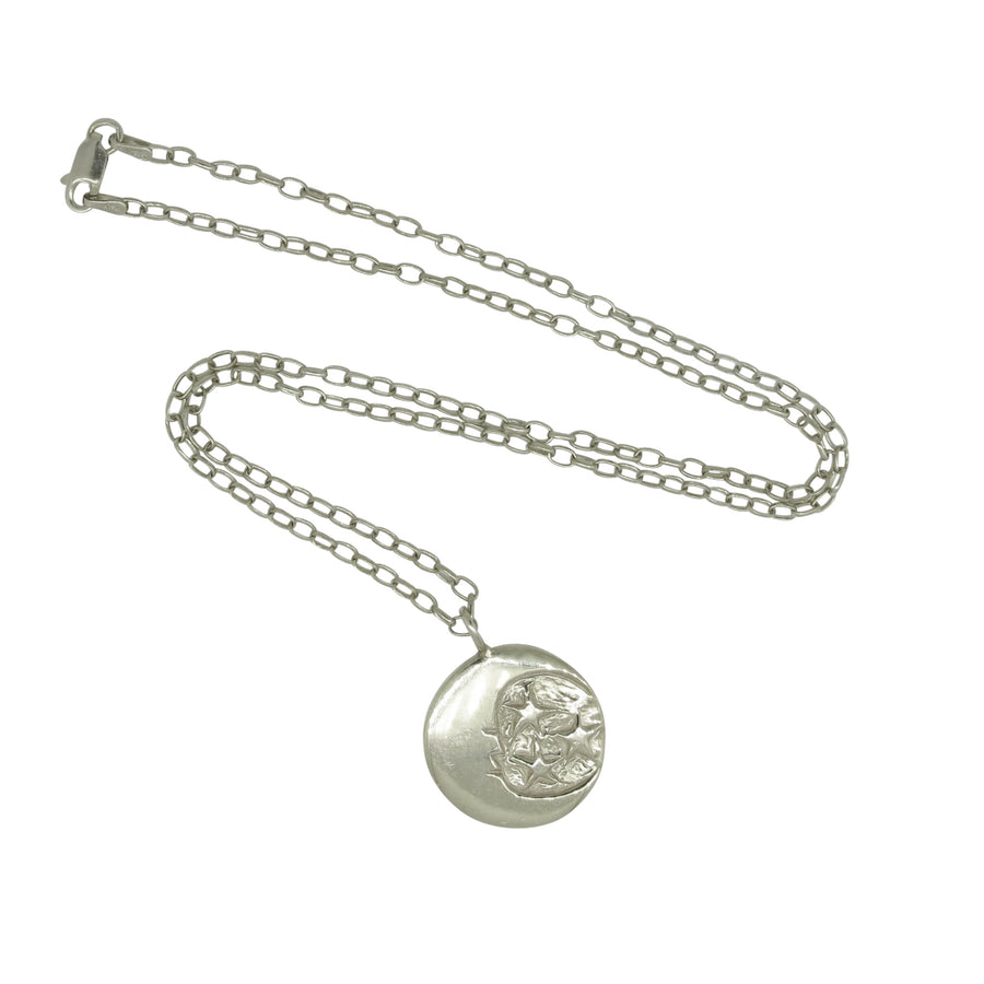 SunMoonSun Medallion Necklace Silver - Serpent & the Swan