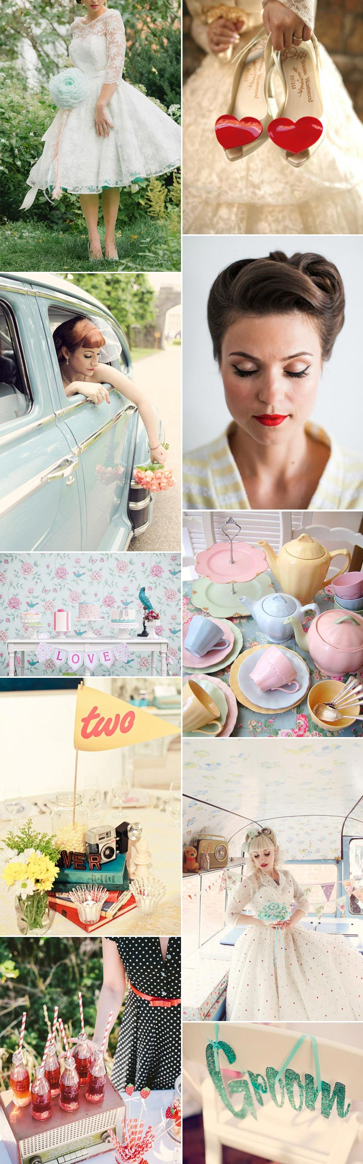 Pastel 1950s retro wedding ideas