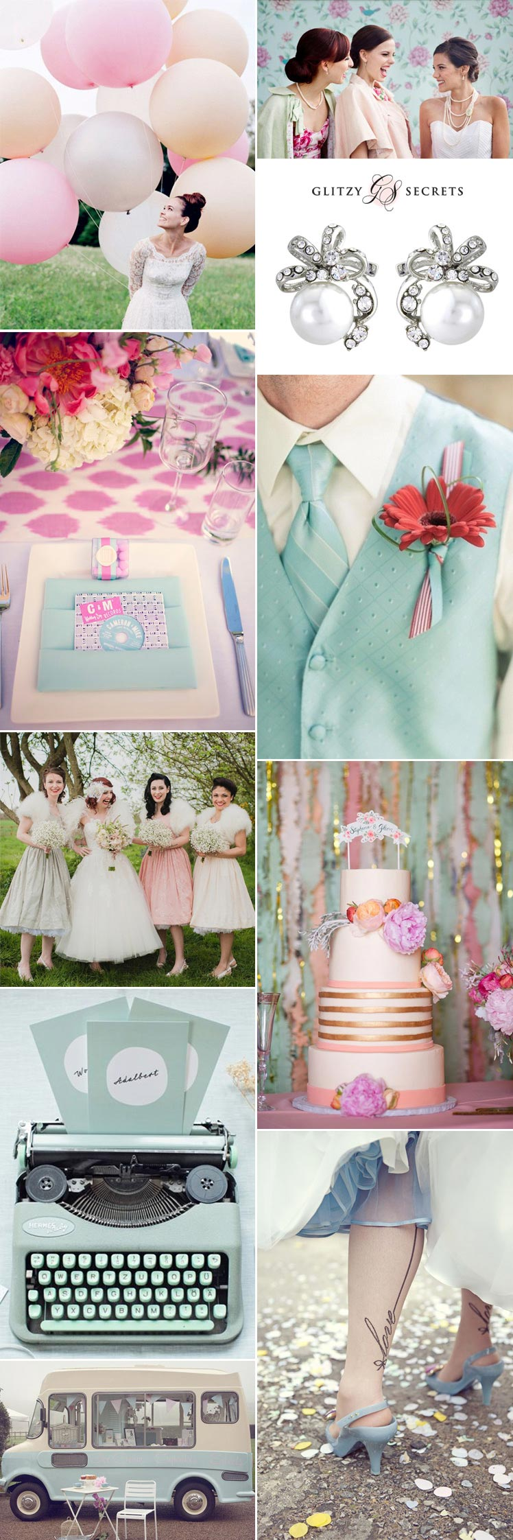 1950s pastel and petticoats wedding theme inspiration