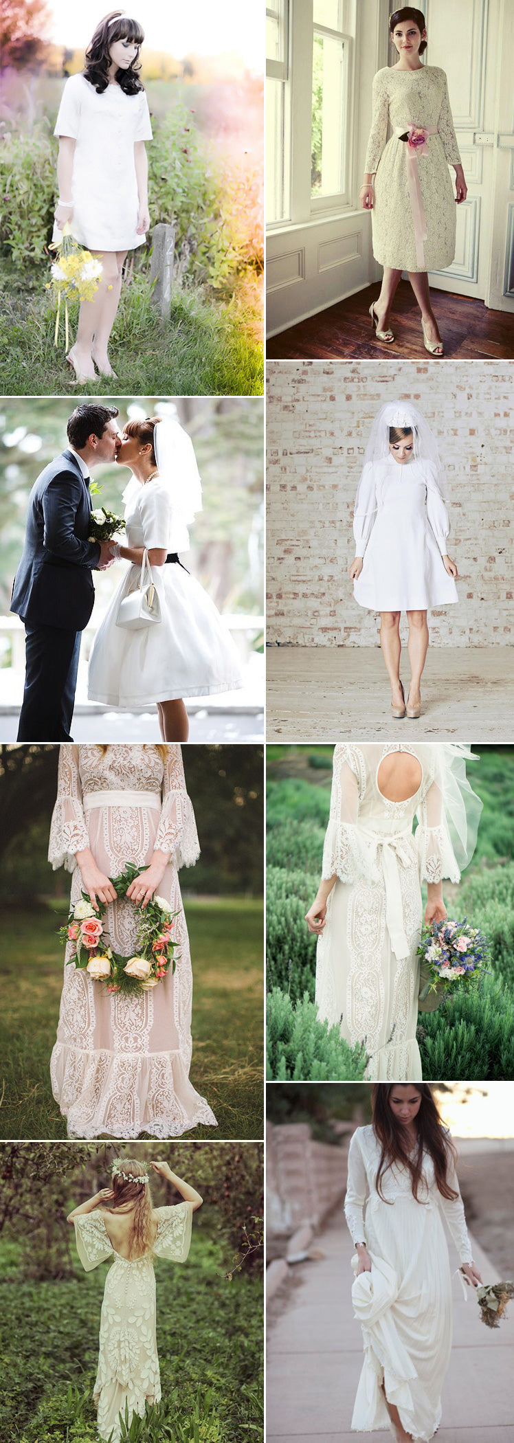 1960s and 1970s bridal dress ideas