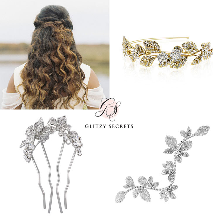 gorgeous accessories for a half up half down do