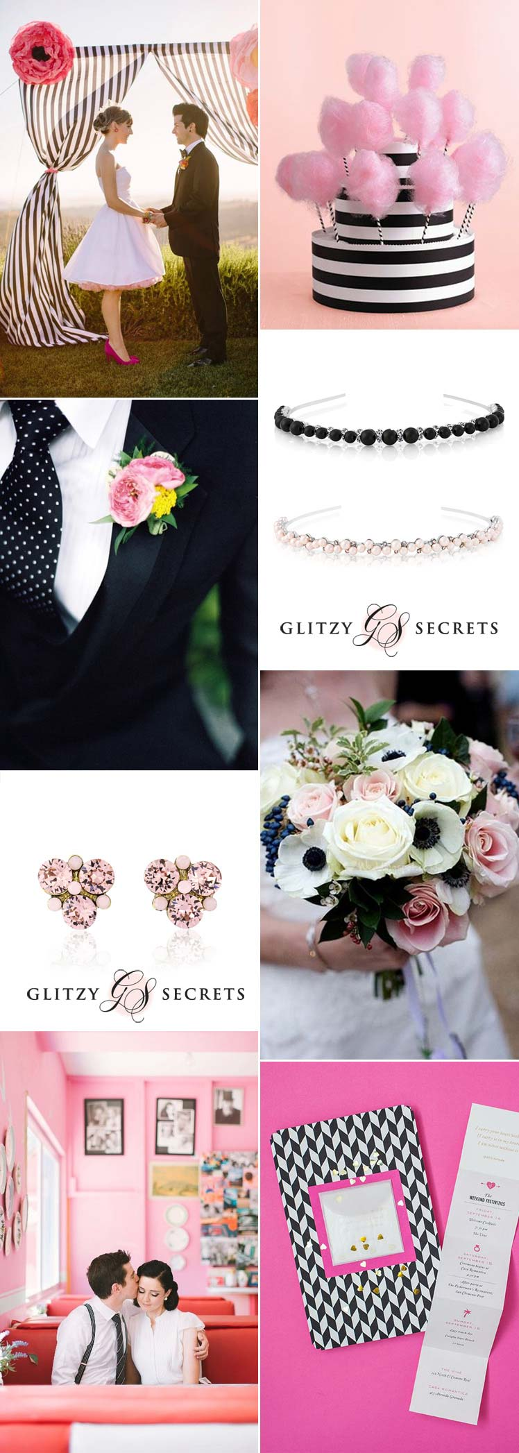 a black white and pink retro wedding