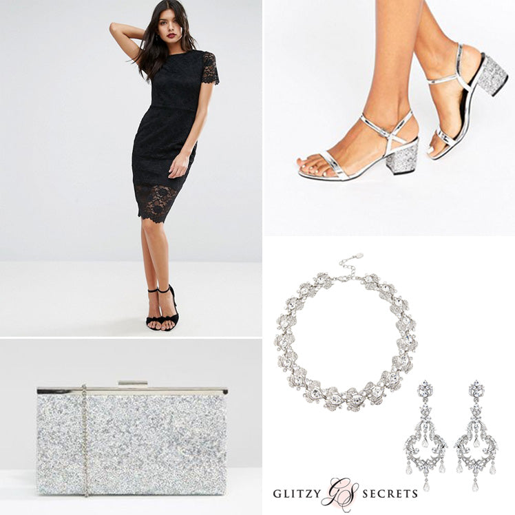 Dress up your black dress with silver accessories