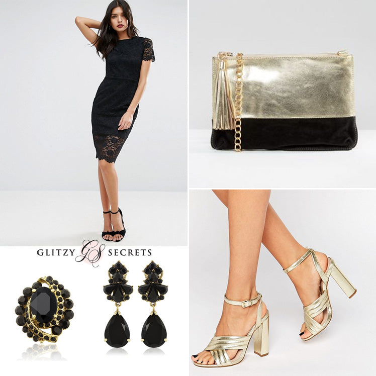 Dress in black and gold for the Christmas party