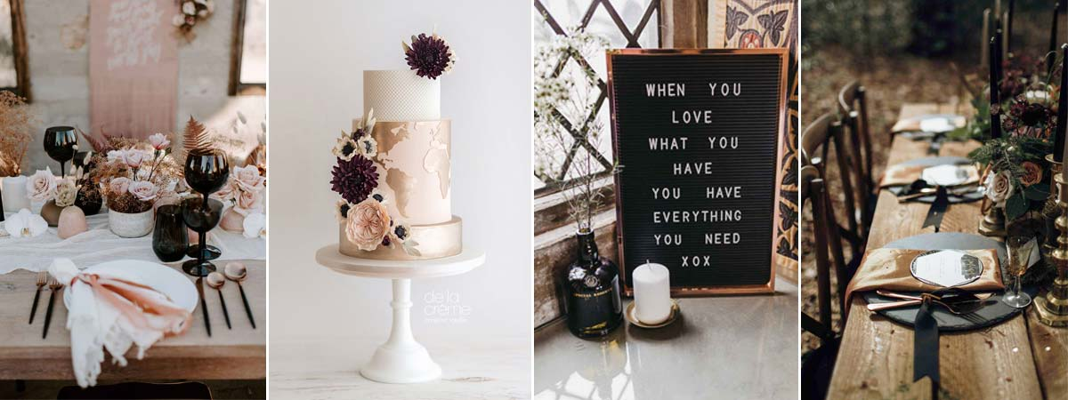 Black and Rose gold wedding inspo