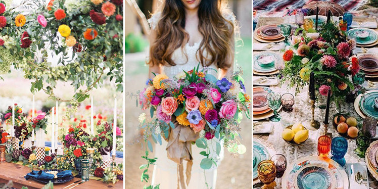 Bright colour palette boho wedding ideas