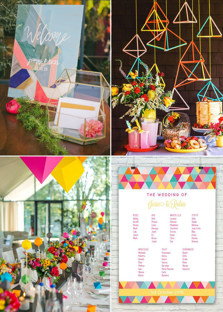 Bright geometric accents for a modern wedding theme