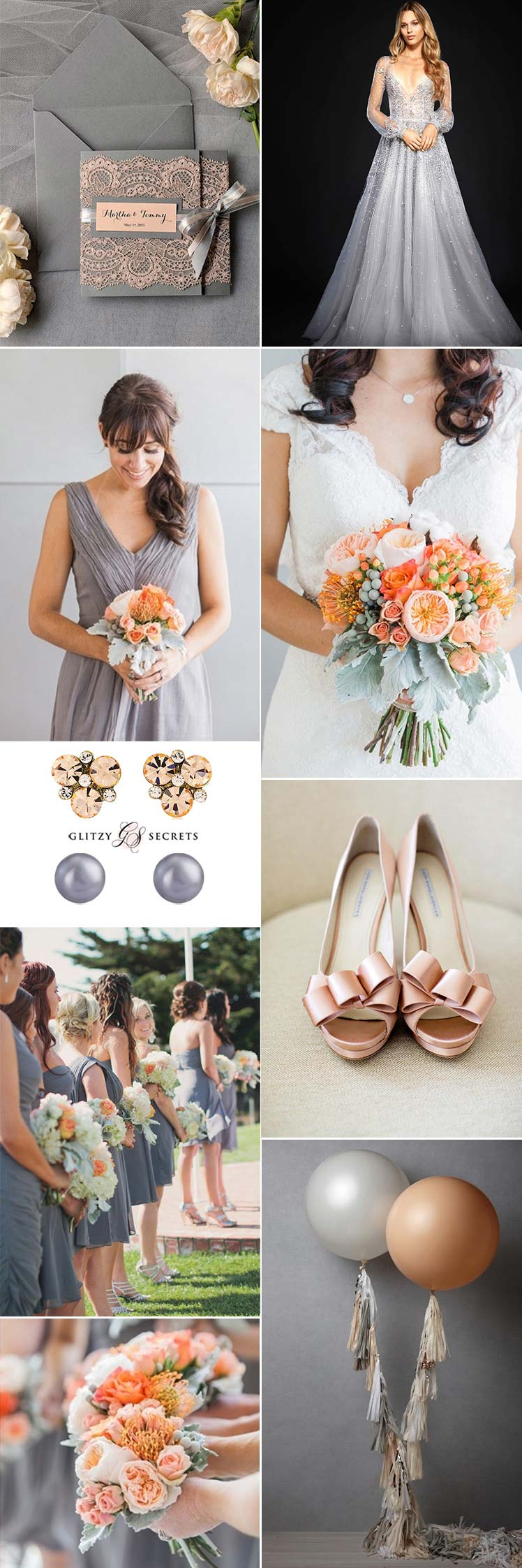 Charcoal grey and peach wedding theme