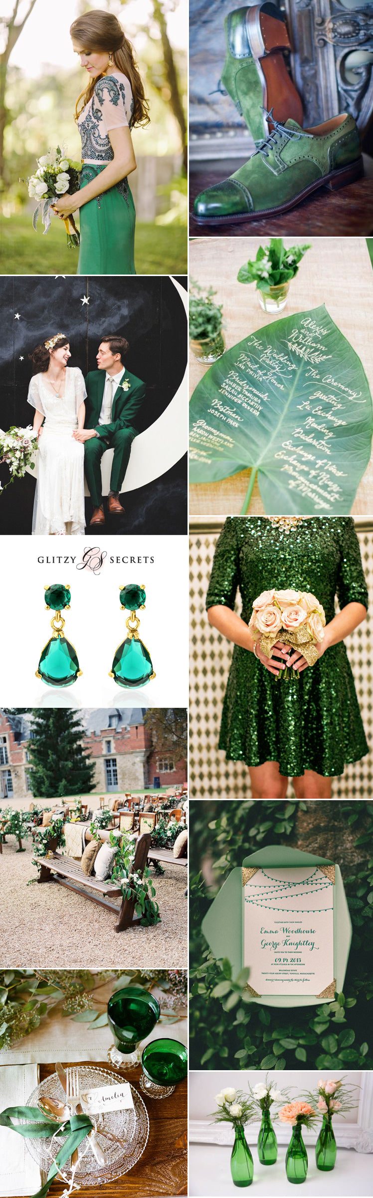 Emerald green wedding inspiration for May's birthstone