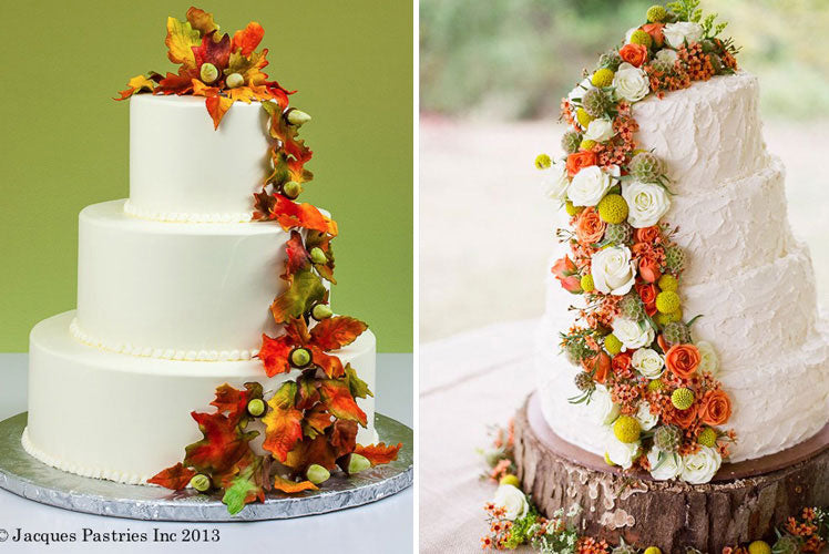 Leaf and flower Autumn wedding cakes