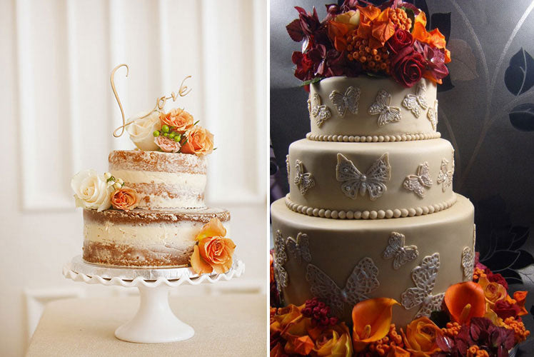 Pretty cakes decorated with rustic flowers