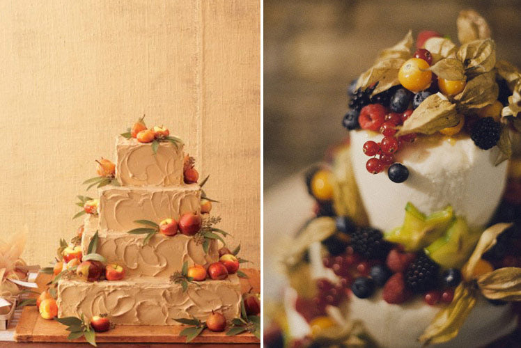 Fruit topped wedding cakes in warm autumnal colours