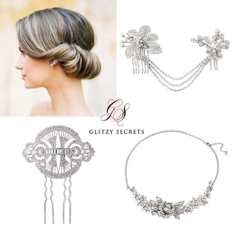 Beautiful hair accessories for a gibson tuck updo
