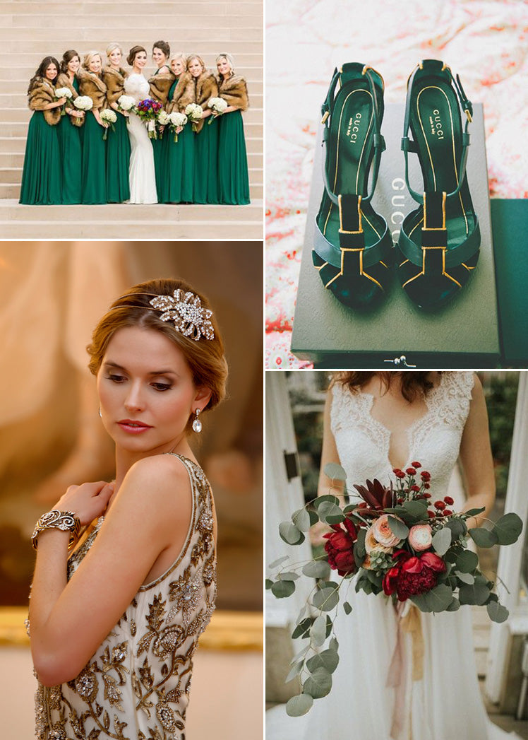 Gold wedding accessories for your winter wedding