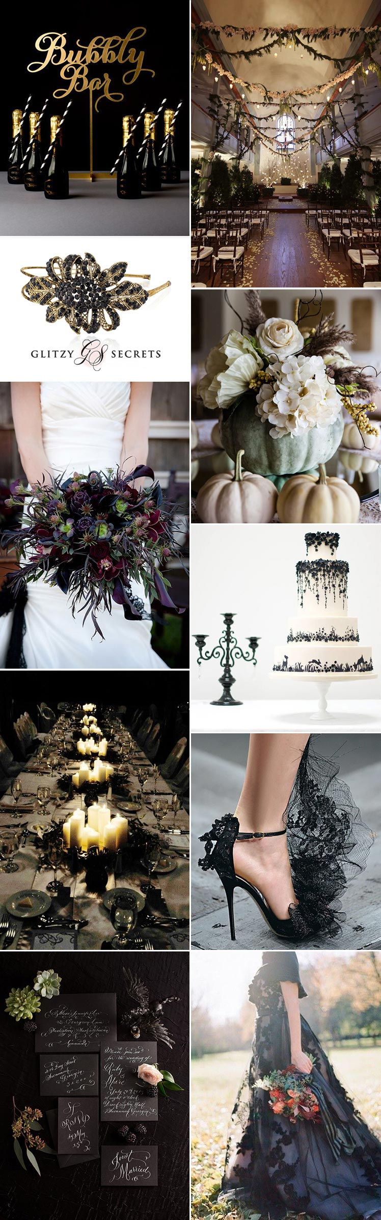Glamorous Halloween wedding theme ideas