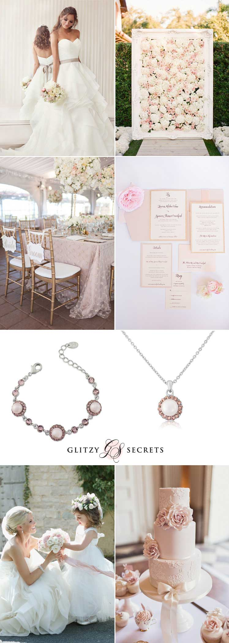 Ivory and blush wedding theme inspiration ideas
