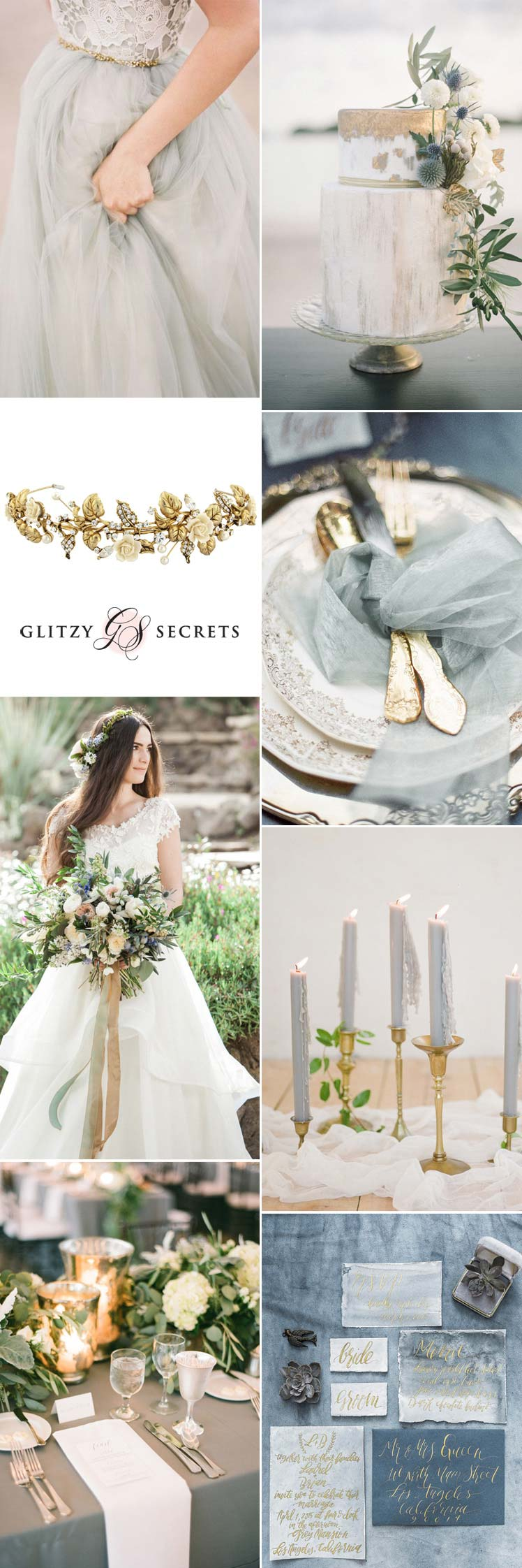 romantic grey and gold wedding ideas
